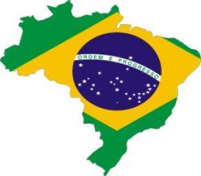 Bandiera Brasile su mappa Brasile